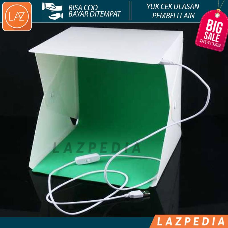 Laz COD - No 2 Photo Studio Mini 1 Button dengan LED dan 4PCS Background / Photo Box Lipat Portable Lampu LED Size S  / Putih - Lazpedia A307