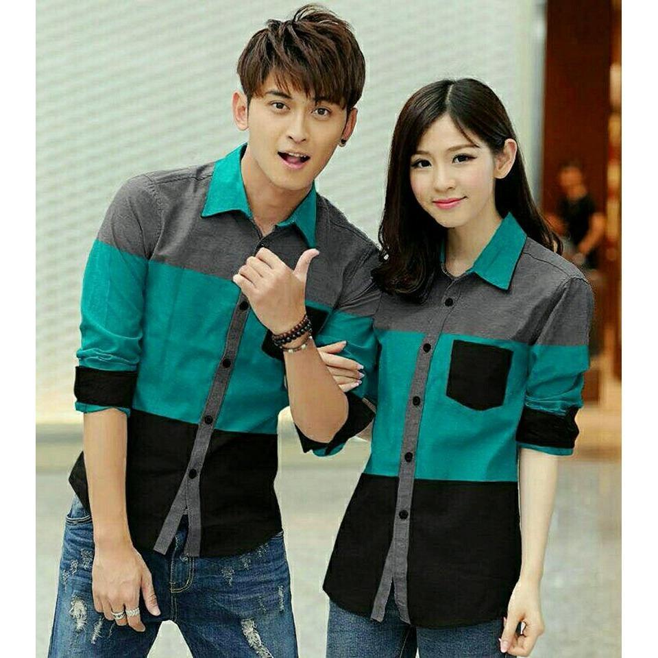 legiONshop - Kemeja Pasangan  kemeja couple  baju couple  atasan  baju pasangan AVERY 3TONE grey tosca black