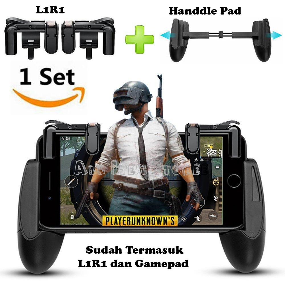 1 Set Button L1r1 Shooter + Gampad Pubg Mobile Joystick Rule Of Survival Free Fire - Hitam By All Item Store.