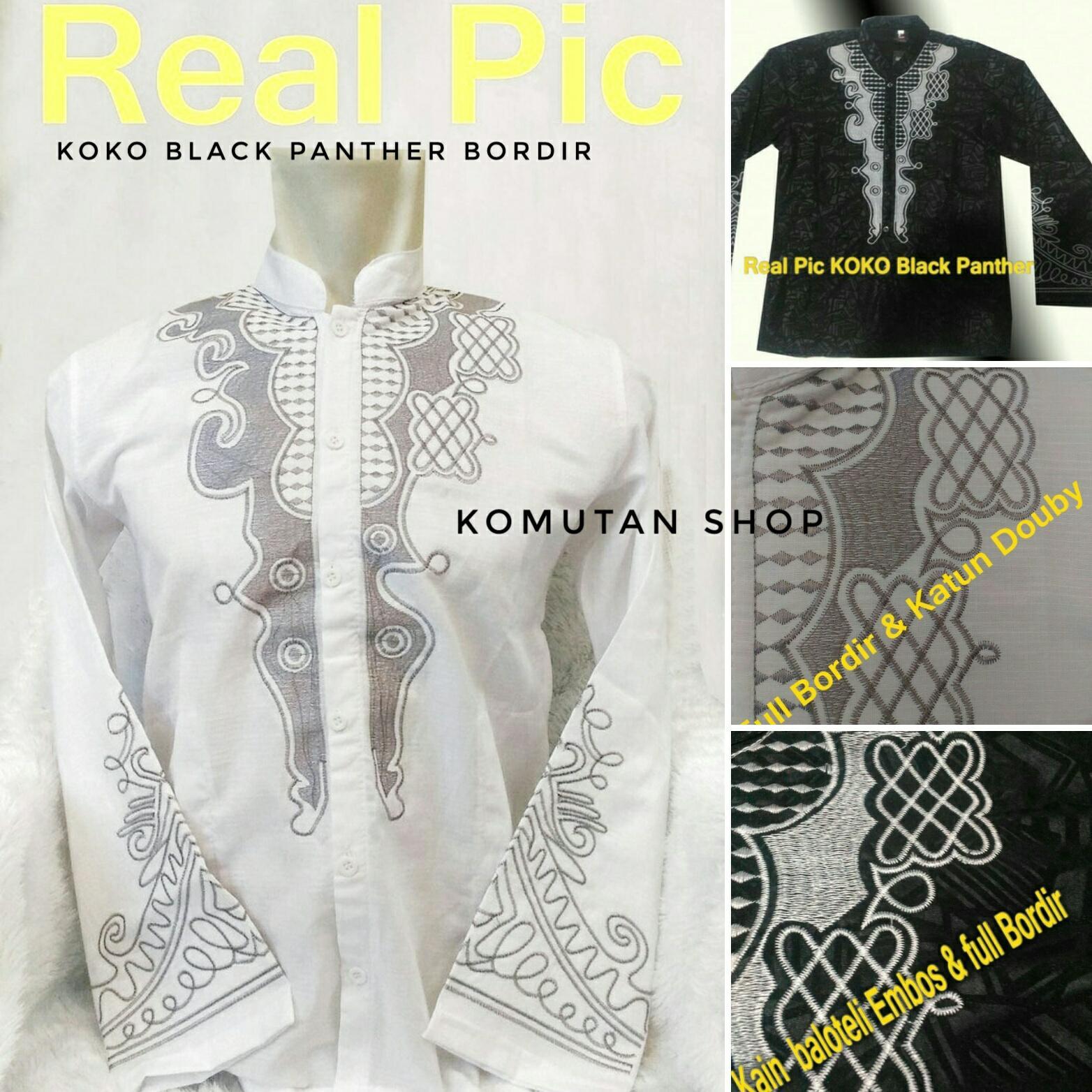 Baju Koko BLACK PANTHER FULL BORDIR Lengan Panjang Kemeja Pria / Gamis