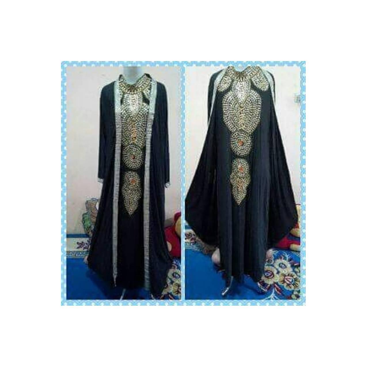 Kaftan Rompi Baju Pesta Dress Wanita Import Baju Muslim Warna Hitam