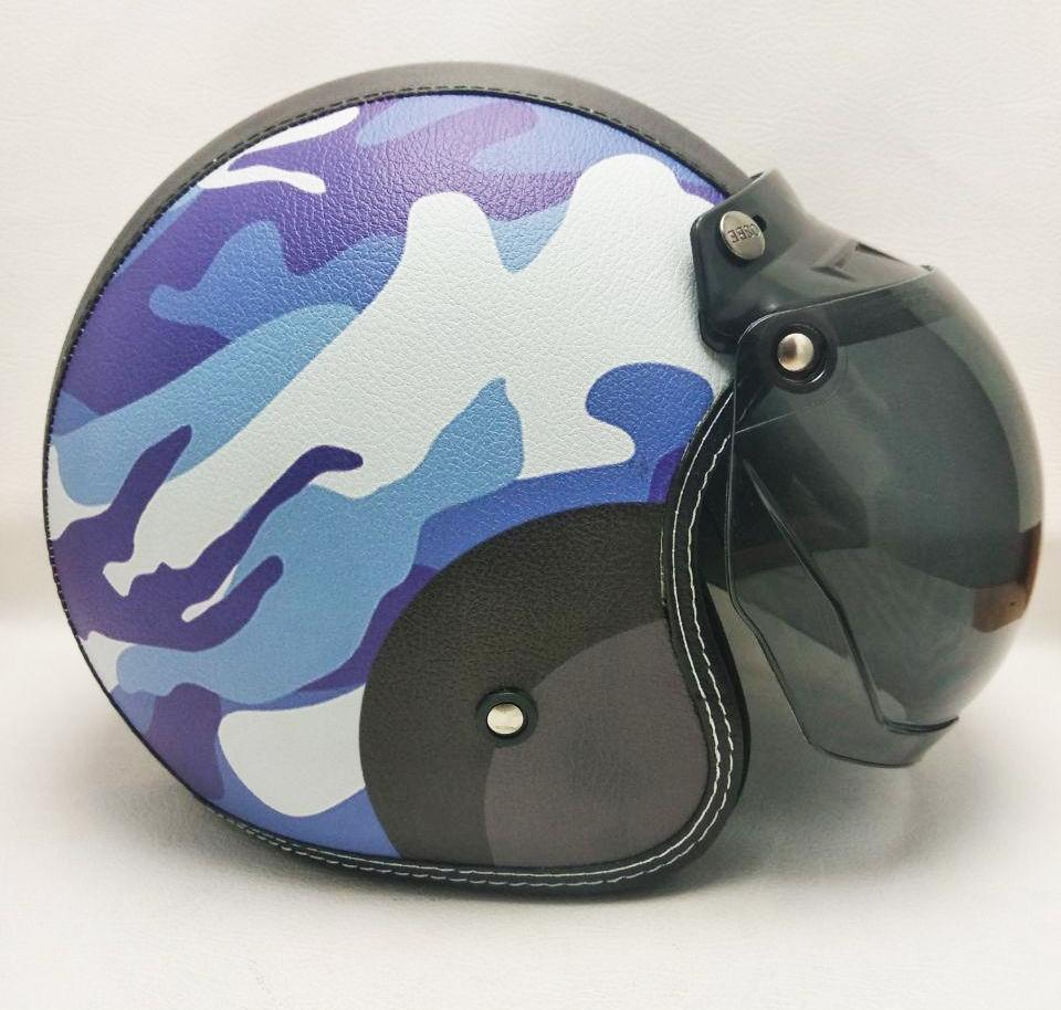 Helm Army Navy Blue Retro klasik bogo Kulit Kaca Bubble halfface