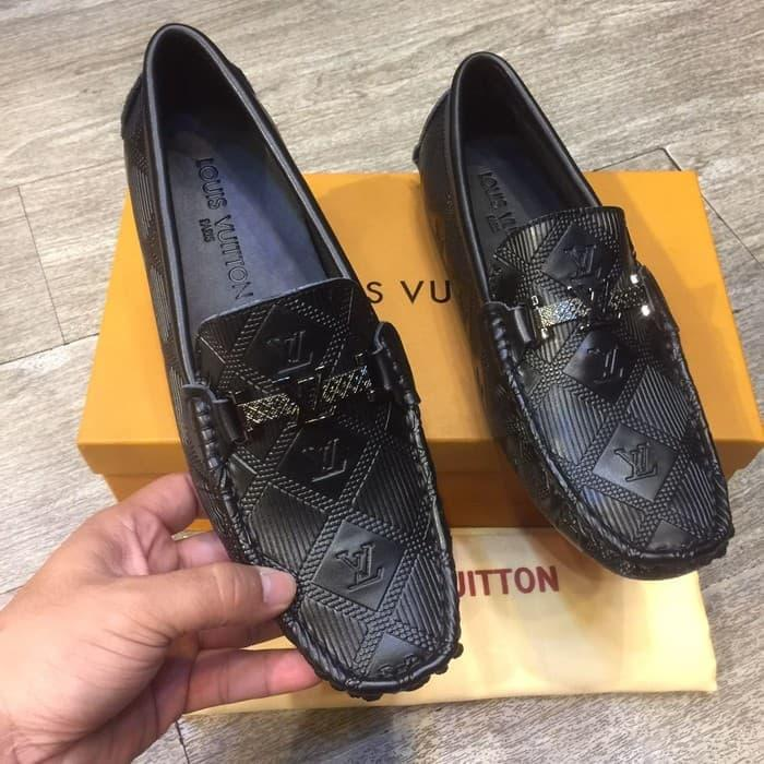 BEST SELLER!!! Sepatu Loafers Pria Louis Vuitton Vip Quality Kulit Asli