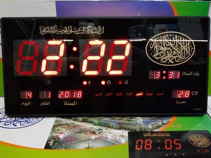 Jam Digital Dinding LED Adzan Clock 5-7 Waktu - WOwcxH