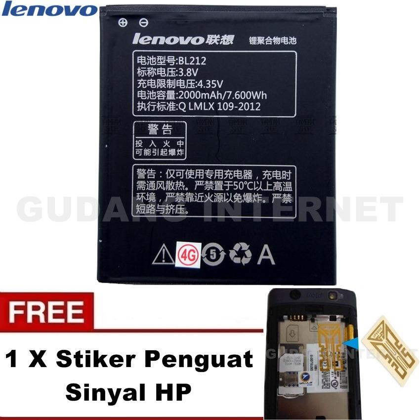 Lenovo Baterai Battery BL 212 Original For Lenovo  A628 A708 S580 S898 - Hitam Free Stiker Penguat Sinyal HP