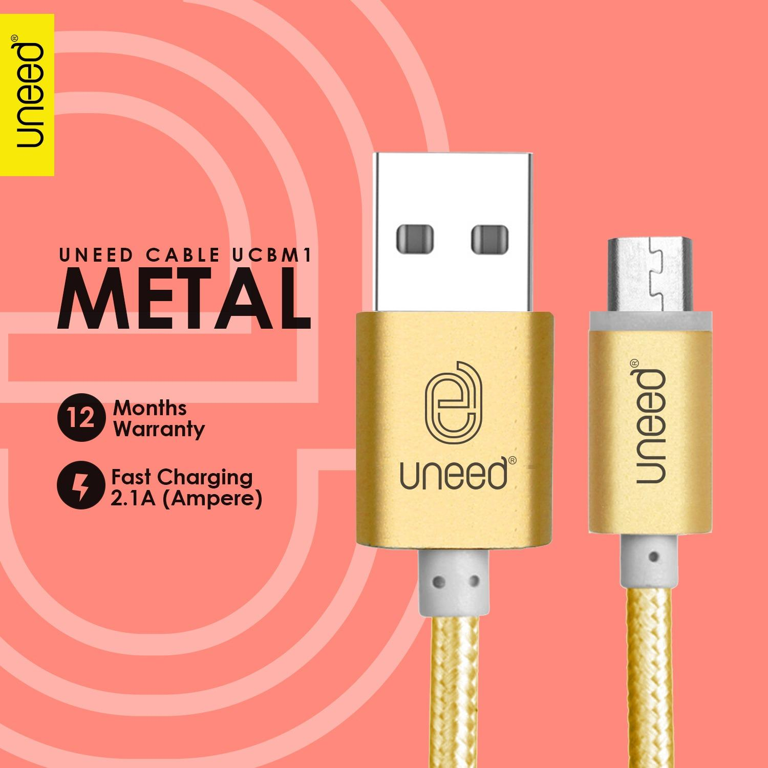 UNEED Nylon Kabel Data Micro USB Metal Quick Charge Fast Charging 2.1A - Original - Gold