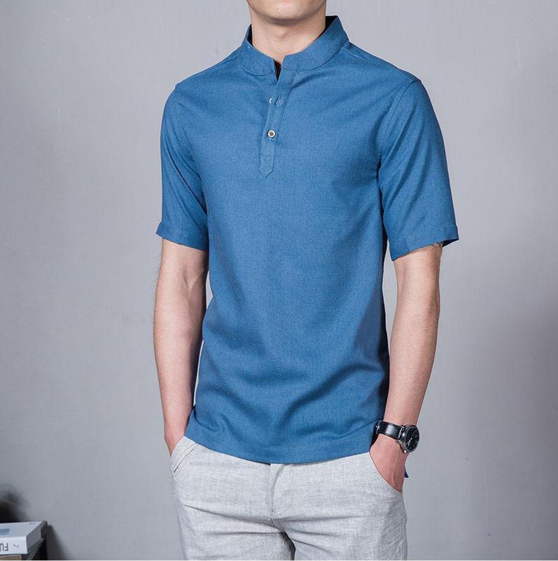 koko Lazuardi bermerek Tangan Pendek Warna Biru Distro Bandung Fashion Pria Keren Terbaru Nyaman di Pakai Simple Eleghan Tersedia 8 warna DISKON