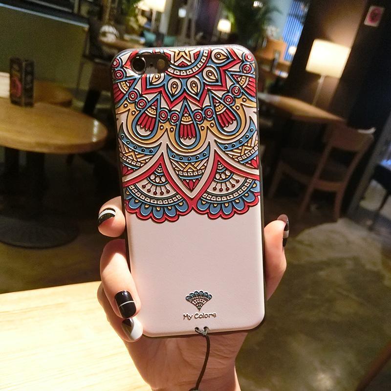 Selubung Ponsel 6 Splus/IPhone6plus Angin Nasional Ukiran 3 Dimensi Apple Identitas Silikon Lunak