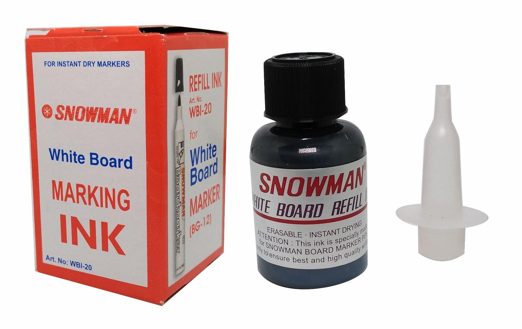 Snowman Refill Ink For White Board Marker - Hitam [1 Pack/12 Pcs]