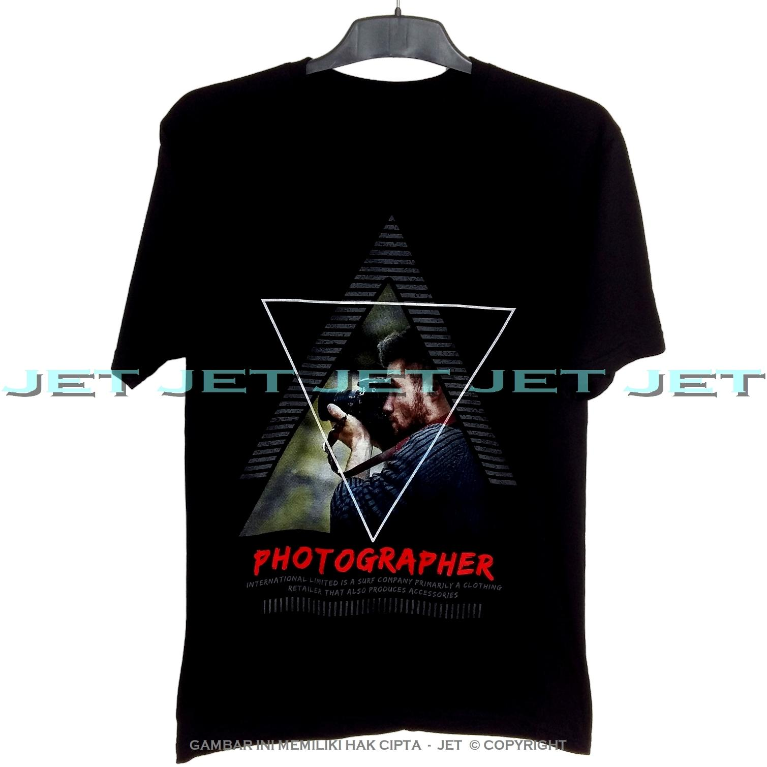 JeT - Black T-Shirt Premium Cotton Combed Photographer Fotografi Camera