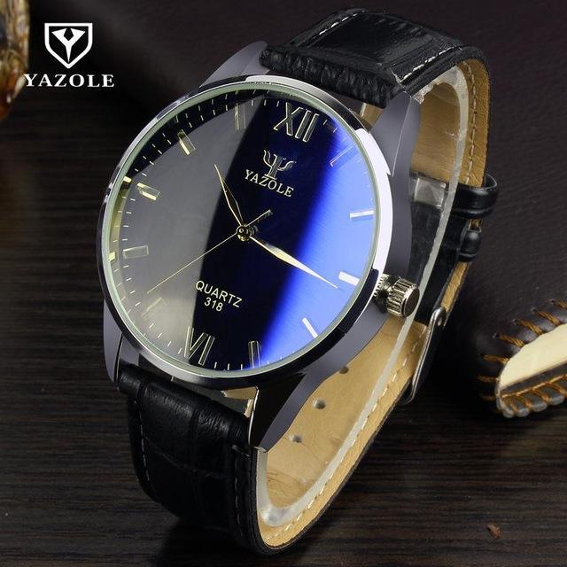 Yazole 318 Jam Tangan Pria Original Business Quartz Watches - Black/Black Dial