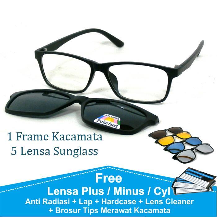 Frame Kacamata Baca Minus Anti Radiasi Komputer Clip On 5 Lensa Warna Sunglass Polaroid Night View 2215