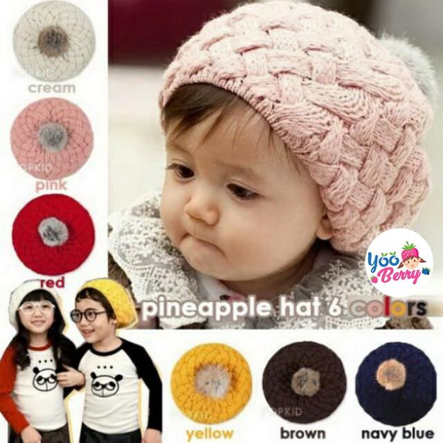 YooBerry Korean Pineapple Hat Topi Rajut Bayi   Anak f7095fb088