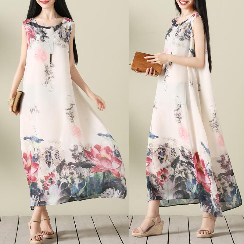 Cina Musim Panas Angin Lukisan Tinta Cetak Setengah Panjang Model Dress Tanpa Lengan Angin Nasional Gaun (Gambar Warna) baju wanita dress wanita Gaun wanita