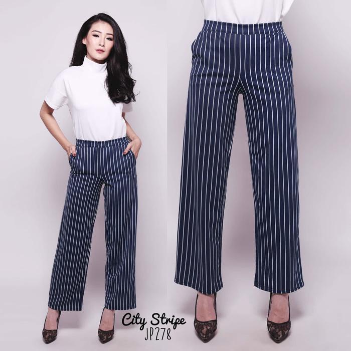 PREMIUM City Stripe Pants Kulot Panjang Salur Celana Thea JP278