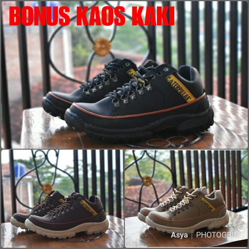 Sepatu safety low Caterpillar kw super ;sepatu kulit kerja proyek