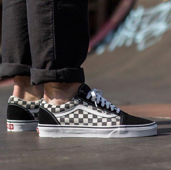 Diskon- Vans Old Skool Checkerboard Black White Premium Original
