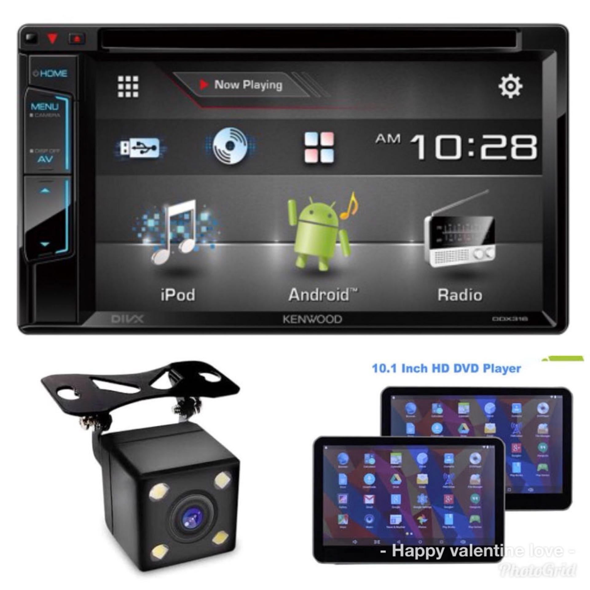 paket entertaiment audio murah meriah paling laku kenwood ddx316dvd, headrest android dvd camera mundur