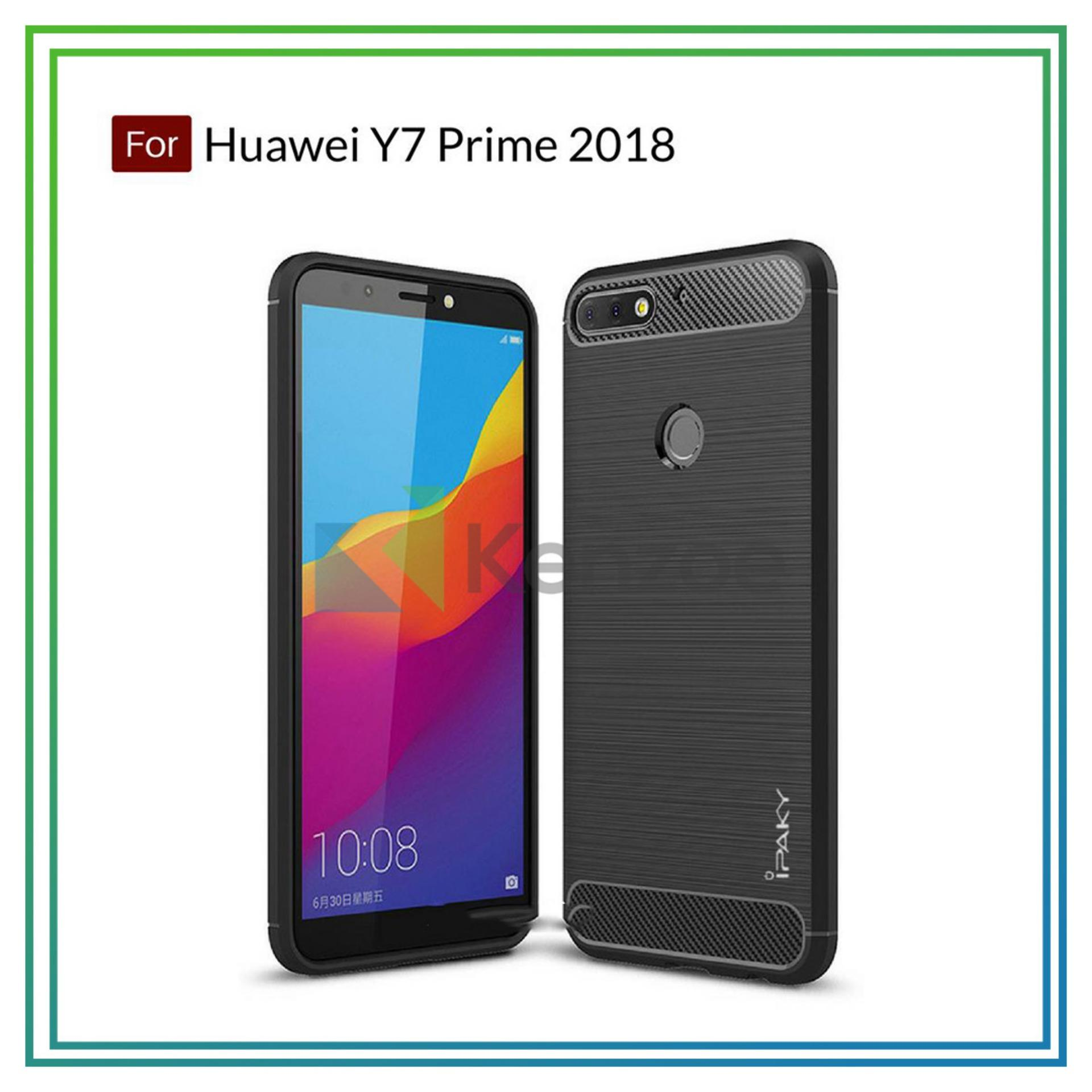 Kenzoe Premium Quality Carbon Shockproof Hybrid Case for Huawei Y7 Prime 2018 - Black