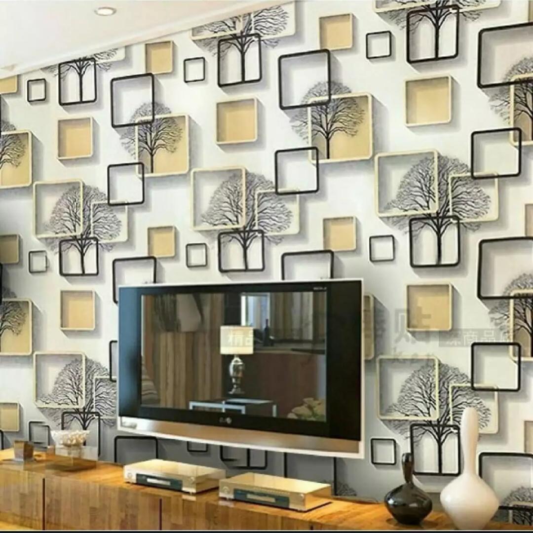 NAP - Wallpaper Stiker Dinding Motif Dan Karakter Premium Quality Size 45cm X 10M KOTAK GOLD