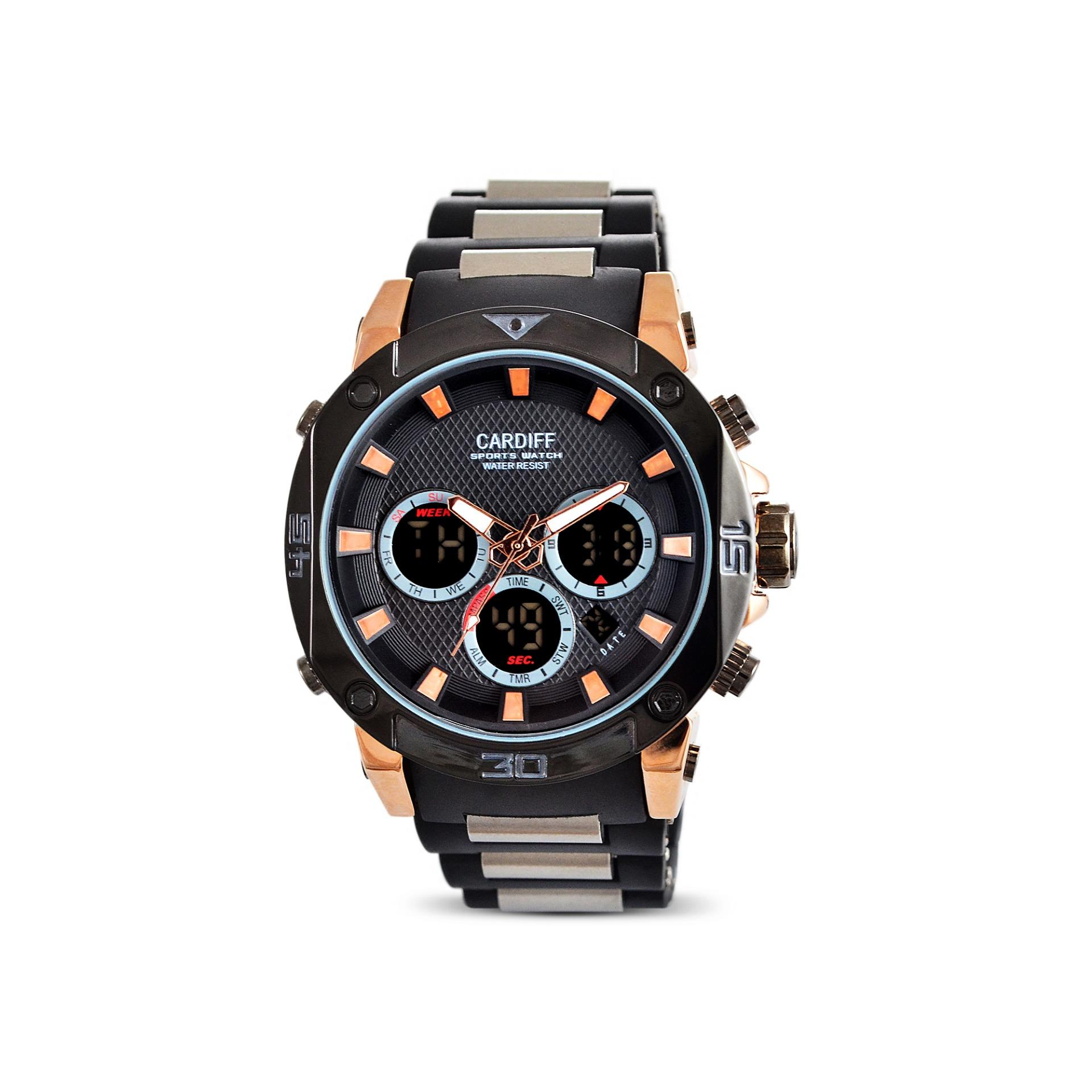 JAM TANGAN ORIGINAL CARDIFF  DT 8135 PU - BLACK GOLD ANTI AIR BERGARANSI 1 TAHUN