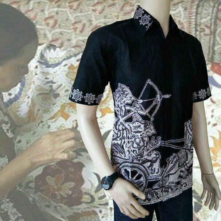 Kemeja Hem Batik Pria Hitam Manis Wayang Arjuna Memanah Harga Grosir Diskon Murah