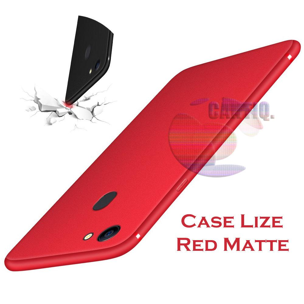 Lize Case Oppo F7 Rubber Silicone Anti Glare Skin Back Case / Silikon Oppo F7 / Jelly Case / Ultrathin / Soft Case Slim Red Matte Oppo F7 / Casing Hp / Baby Skin Case - Red / Merah