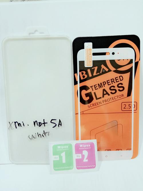 Full Tempered Glass Warna Anti Gores Kaca Full Layar Xioami Xiomi Redmi Note 5A Putih -