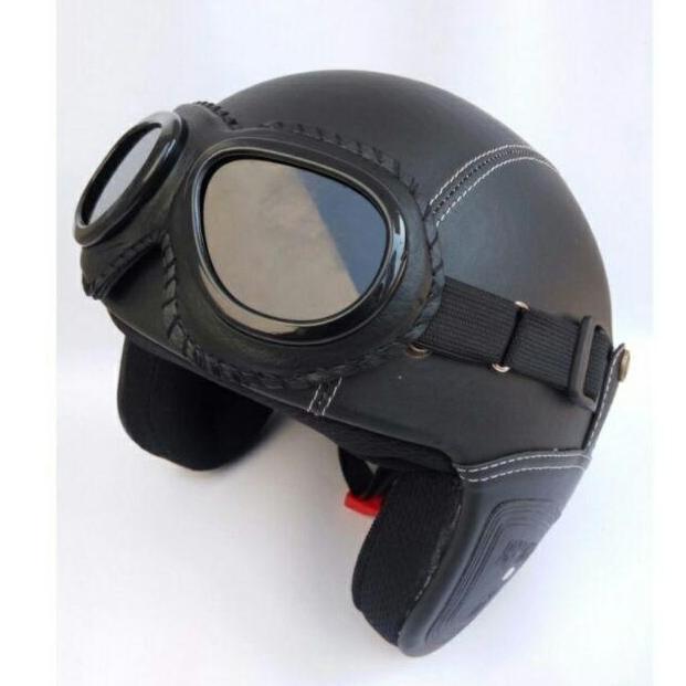 SMS Collections, Helm Retro Bogo Kulit Classic + Kacamata Paling Murah Laris Manis - Hitam