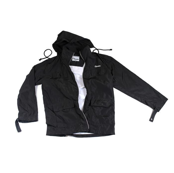 Jaket Gunung Parasut Windproof Tebal Murah- Ninenine Windbreaker Black