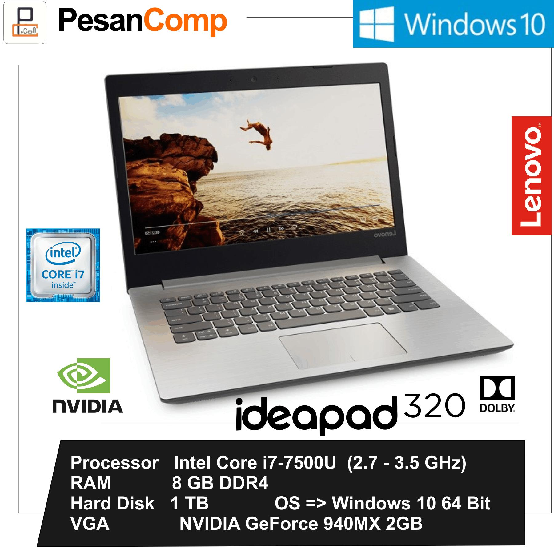 Lenovo IdeaPad 320-14IKB i7-7500U / GeForce 940MX 2GB / 8GB / 1TB / Windows 10 / USB Type - C / Garansi Resmi