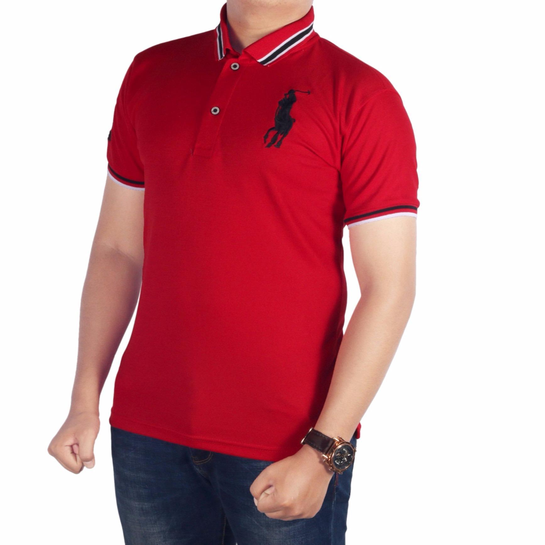 Dgm_Fashion1 Baju Kaos Polo Polos/kaos pria berkerah/ Kaos Polo Kerah Sanghai/Polo Kerah/Kaos Polo Pria Kerah Sanghai/Kaos Polo Pria Sanghai KombinasiKaos PoloShirt Pria/Polo men/Kaos Polo/Polo Kaos/Kaos Polo Six IP 4544 Merah