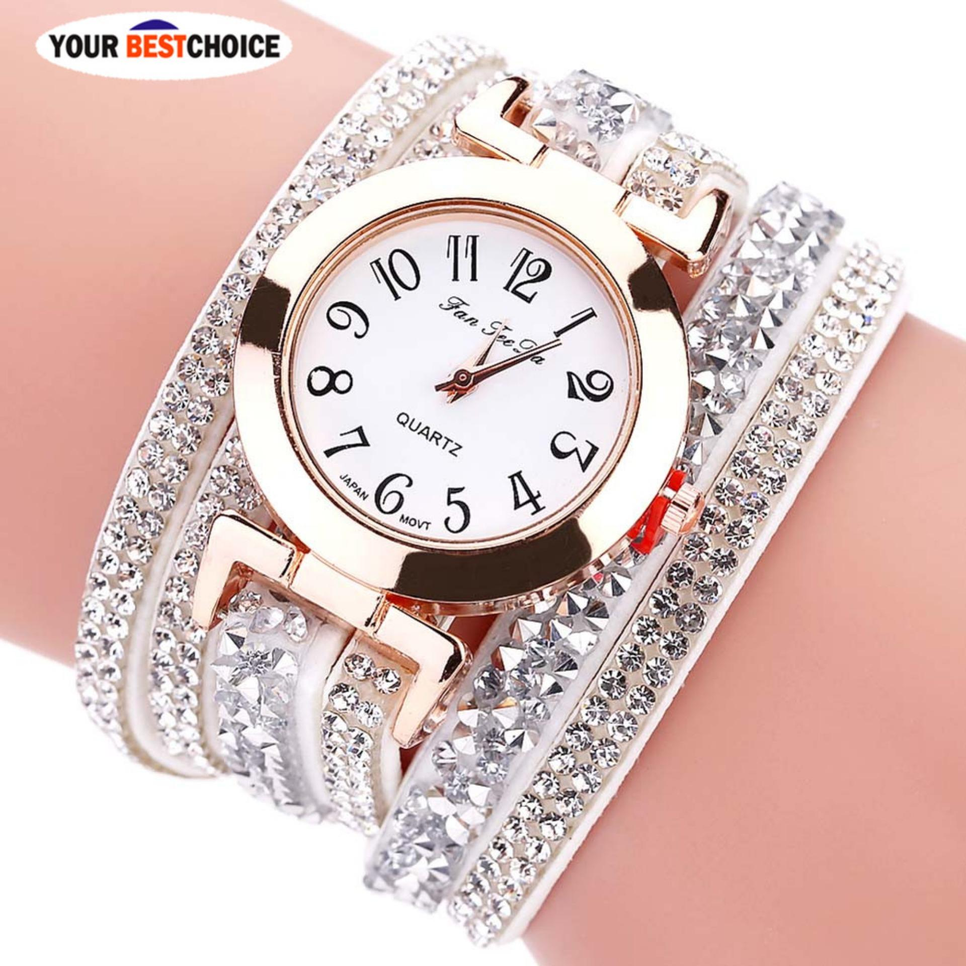 YBC Fashion Women Multi Lapisan Gelang Watch Crystal QUARTZ Arloji Hadiah-Intl