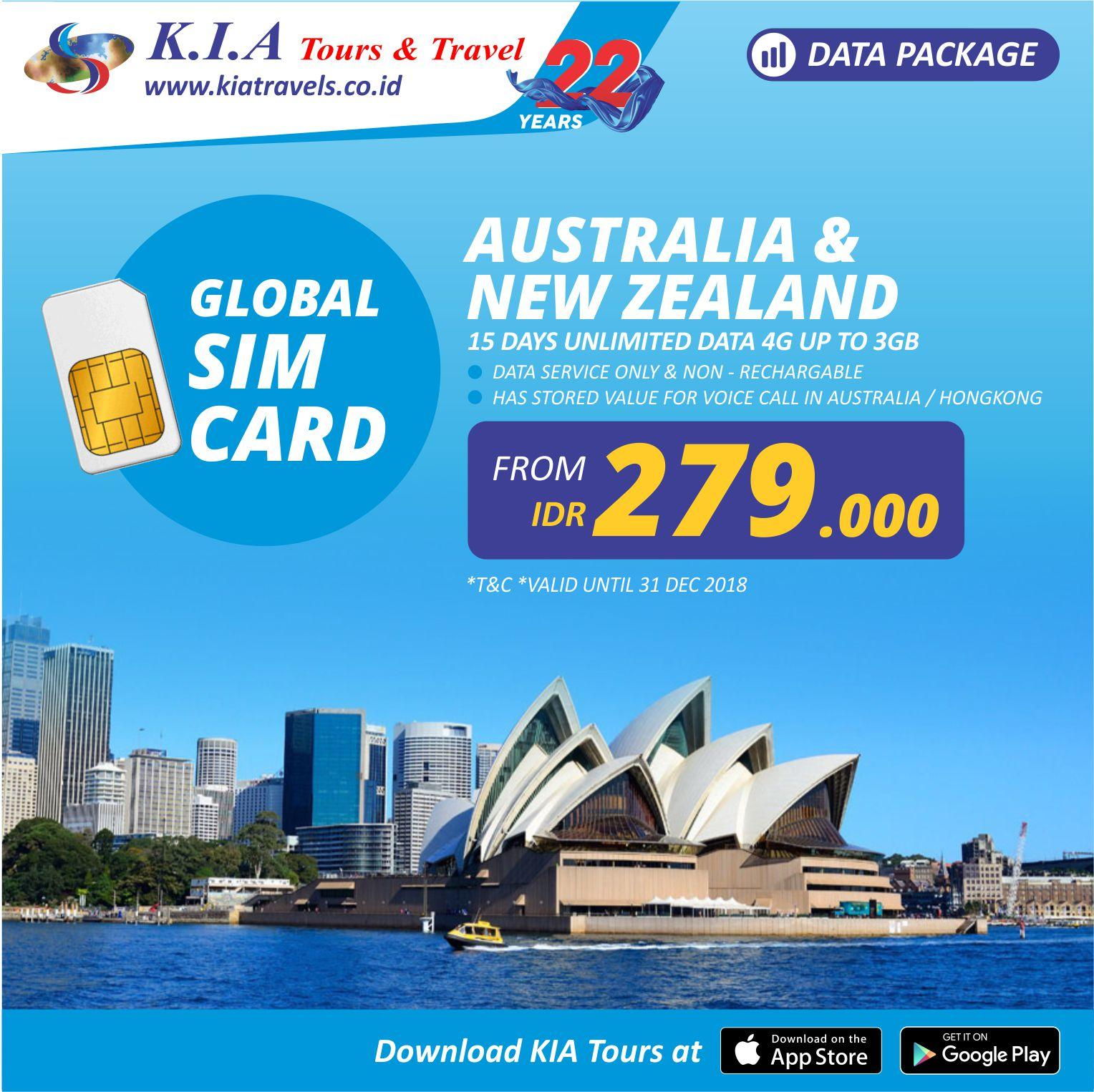 Sim Card - Australia & New Zealand 15days By Kia Tours By Kia Tours.