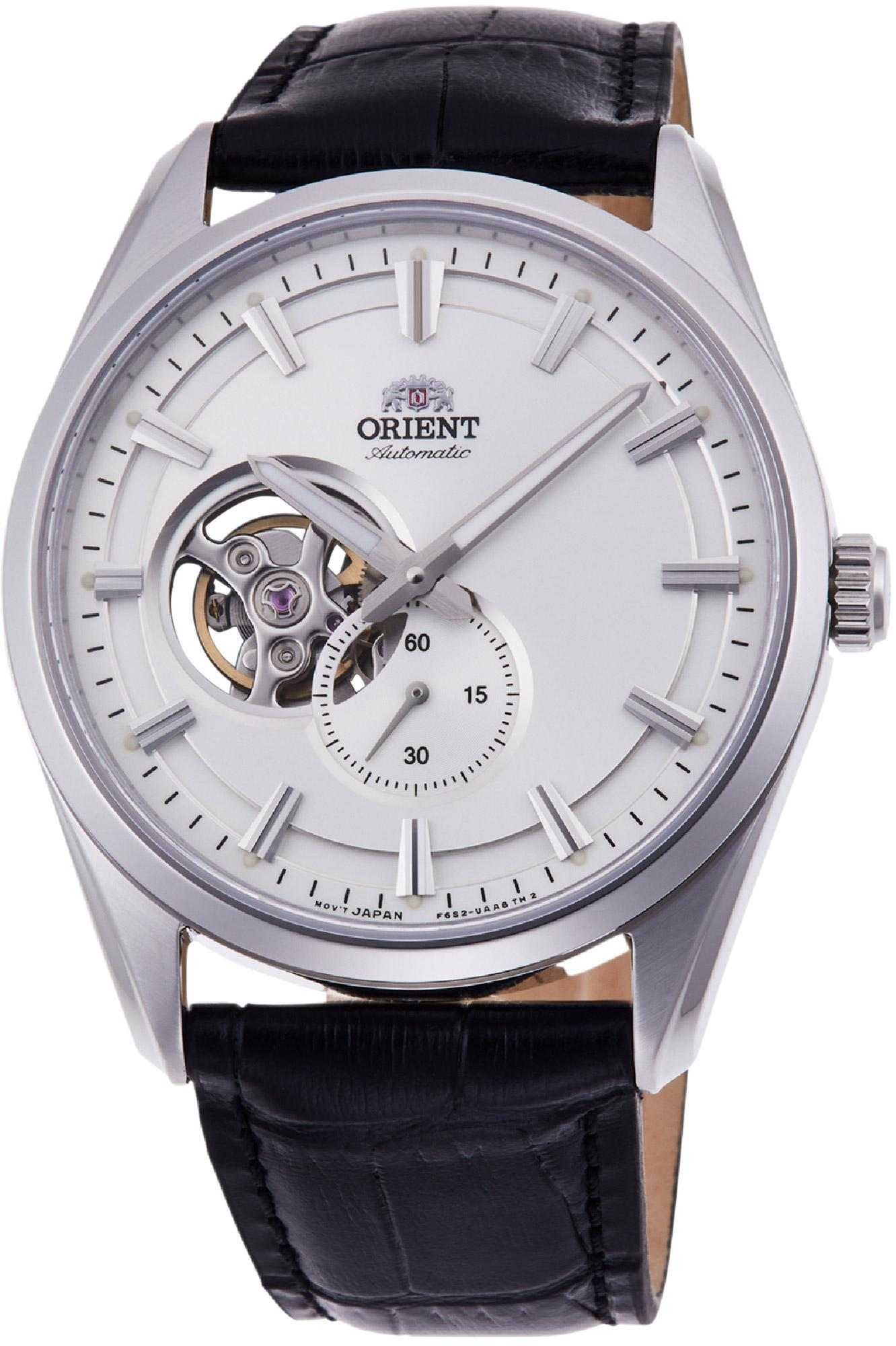 Orient Jam Tangan Pria Orient Contemporary RA AR0004S10B Sapphire Automatic Silver White Dial Leather Strap