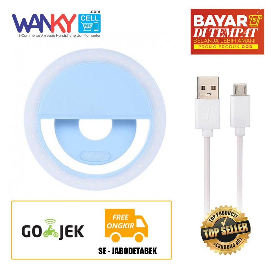 Portable Clip-on Mini 36 LED Selfie Ring Lamp Fill-in Light Night Lampu Selfie Ring Lighting For Smartphone - Biru