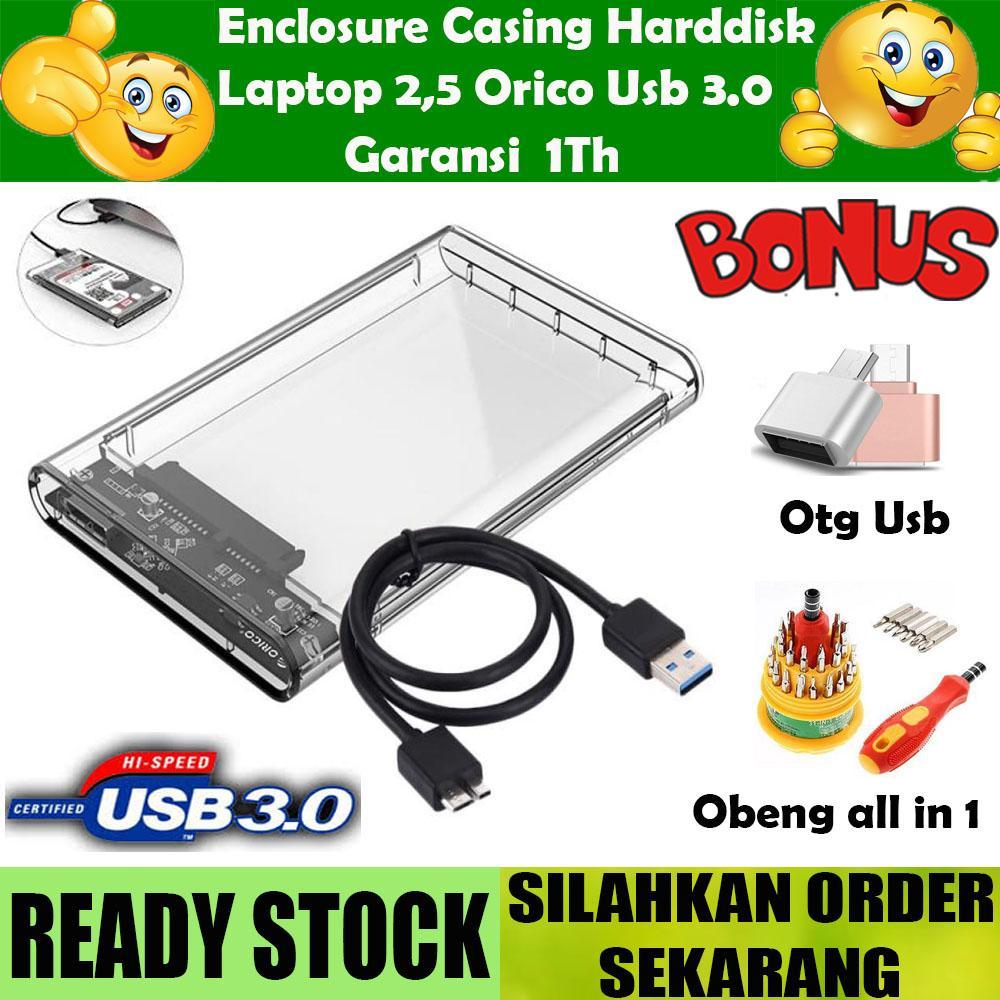 Enclosure Case Hdd Eksternal Casing Orico Transparan Hardisk Laptop 2.5 Inch Usb 3.0 + Gratis Obeng Universal + Usb Otg Reader By Jualtrancend.