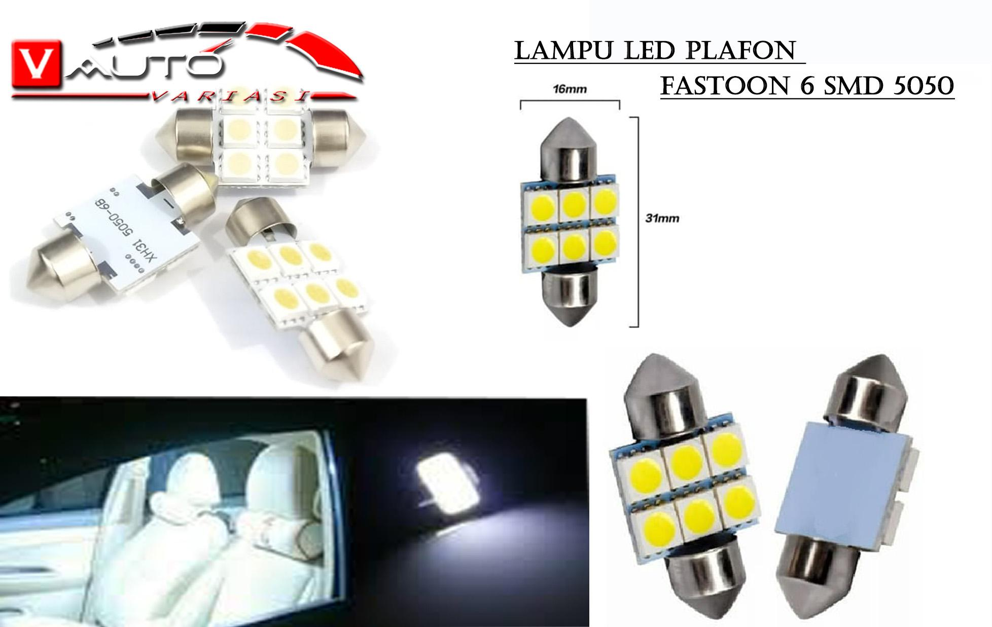 Lampu Led Plafon 6 Smd 5050 6 Titik Led Kabin Mobil Festoon 31 Mm By V Auto.