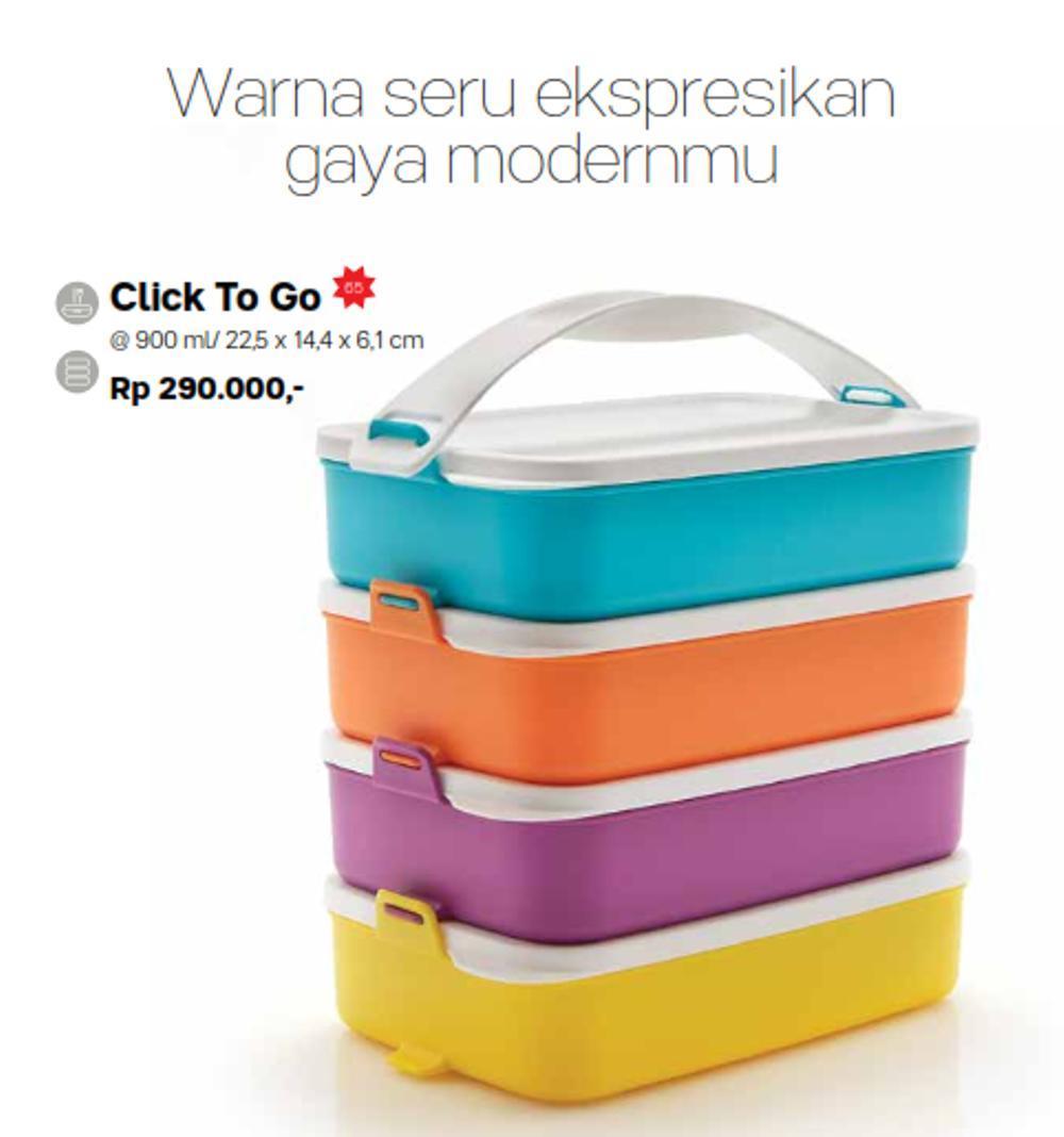 Tupperware Rantang 4 Susun warna warni / click to go - klik klic click to go