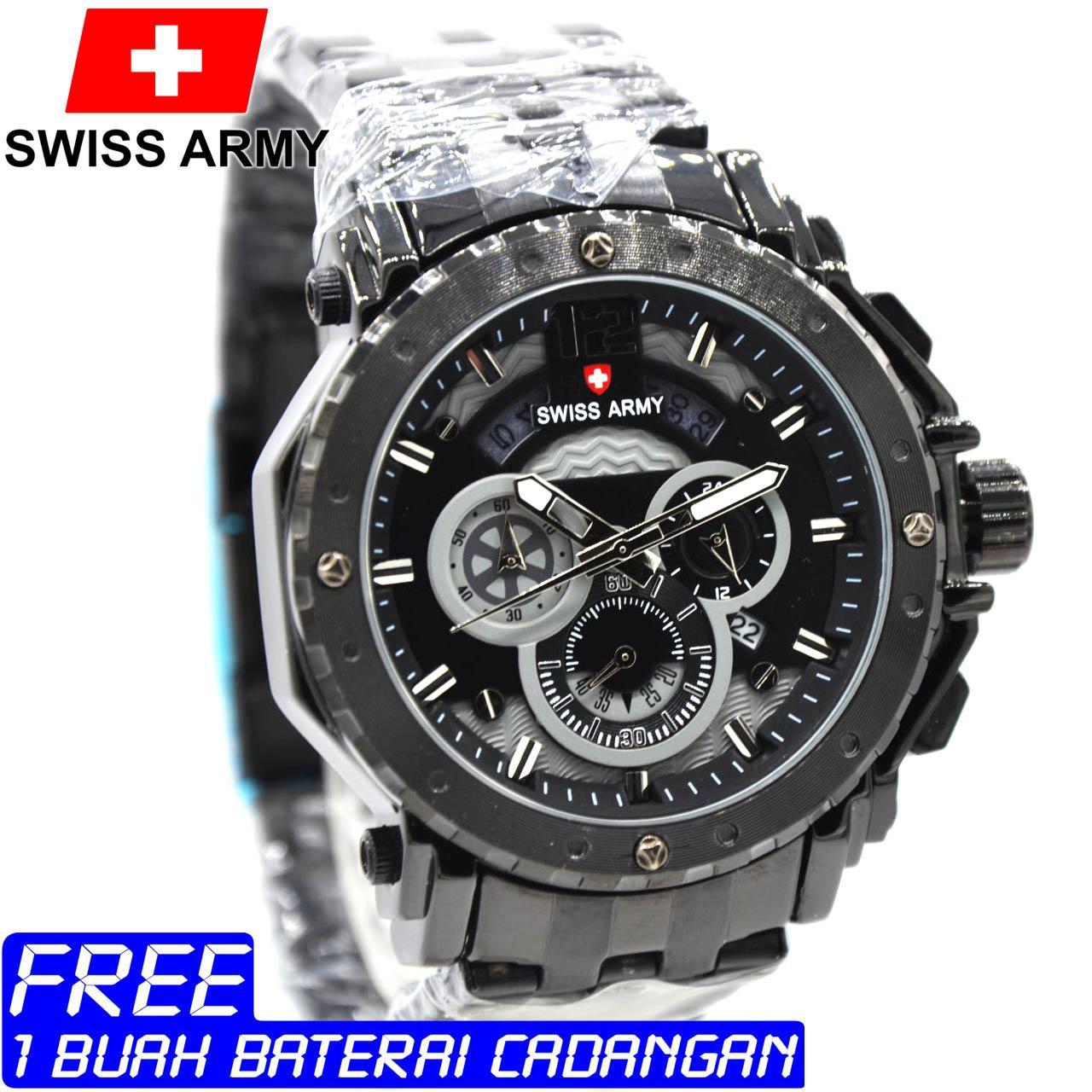 Jam Tangan Pria Swiss Army SA6341M Crono Aktif Tali Rantai