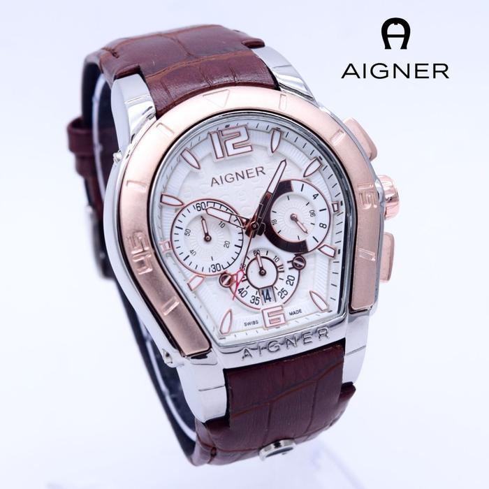 Jam Tangan Pria / Cowok Aigner Bari Leather Brown Silver Rose| AMO Store