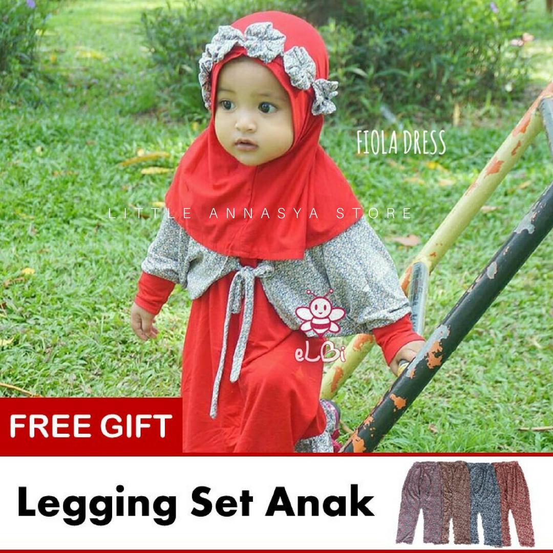eLBi - Baju Muslim Anak Perempuan/ Baju Muslim Balita / Gamis Anak / Baju Muslim Bayi Perempuan / Baju Pesta Anak Muslim / Fiola Series