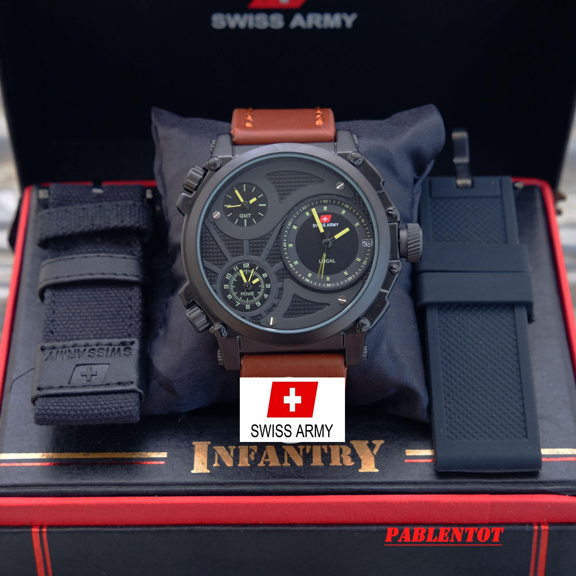 Detail produk dari Swiss Army Infantry Full Set - Jam Tangan Pria - Triple Second Time Gratis Tali Kanvas Gratis Tali Rubber