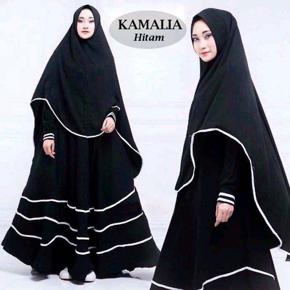 kamalia Syari Gamis Maxi Dress Jumbo fit M to XXL Plus khimar di lapak anayanda shop anayandashop
