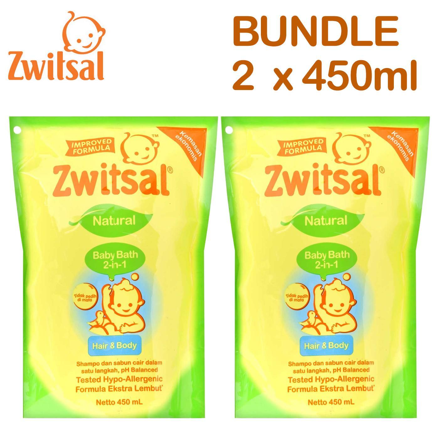 Zwitsal Baby Bath 2in1 Hair & Body 450ml Refill Pouch - 2 Pcs