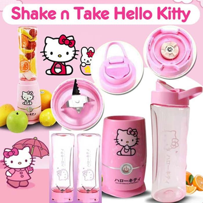 [ GARANSI 100 % ] Shake n Take Hello Kitty 2 cup/gelas Juicer Blender Kitty Blend and Go @ blender philips / blender miyako / blender murah / blender cosmos / blender mini / blender portable / blender tangan / blender philips promo daging manual beauty
