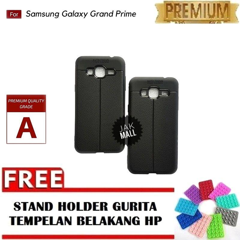 Jak Shop Leather Softcase For Samsung Galaxy Grand Prime G530 - Black - FREE Holder Gurita