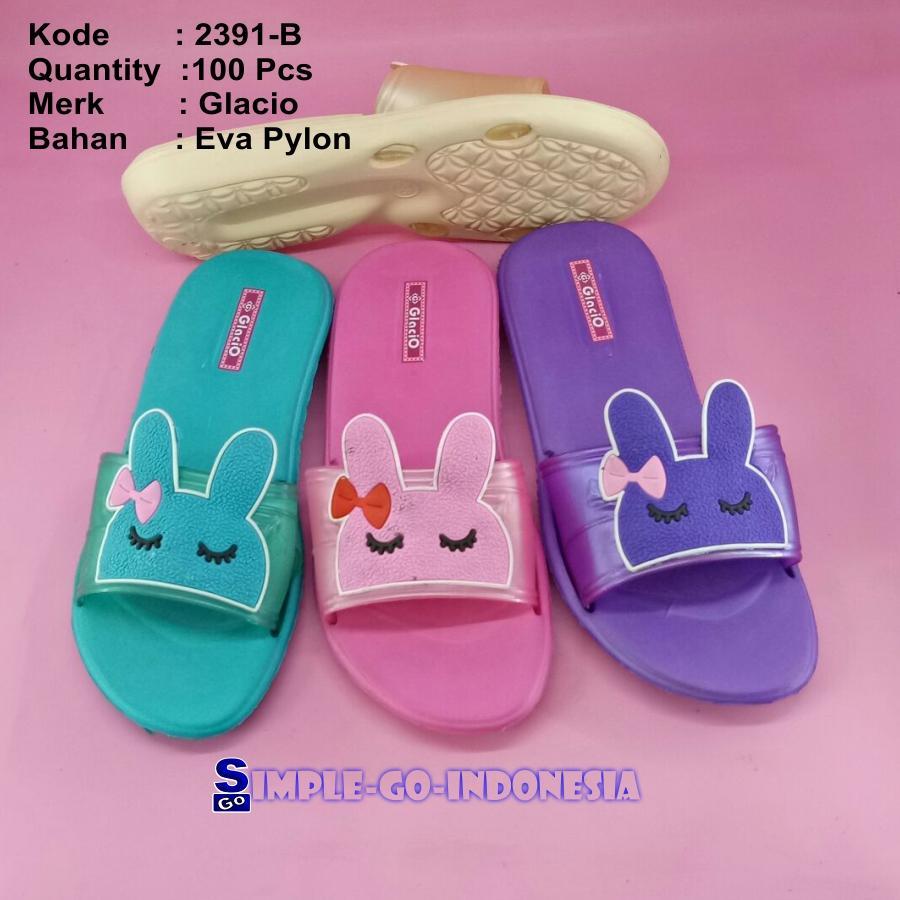 Sandal wanita slop pylon enteng glacio pin kelinci 2391 36-40