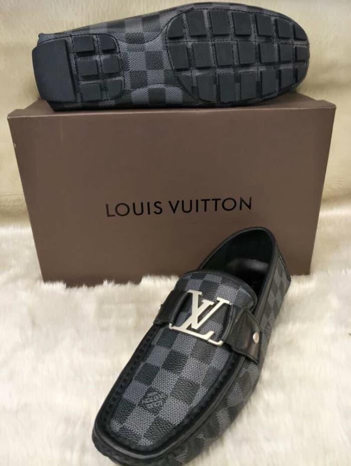 HARGA DISKON!!! Ori Leather Sepatu Loafers Louis Vuitton Damier Kulit Asli