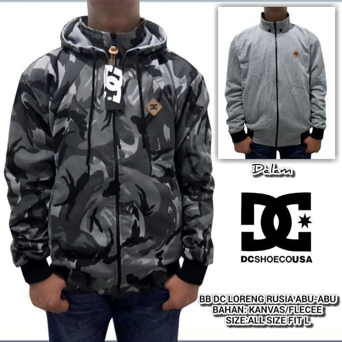 Hot Item!! JAKET DC BOLAK BALIK KANVAS LORENG ABU - ready stock